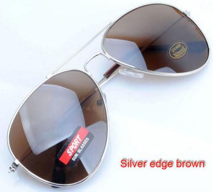 Ochelari de soare lentile maro si rama argintie