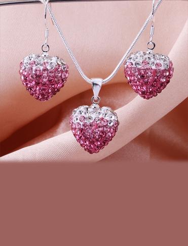 set medalion cercei si lantisor argint 925 roz