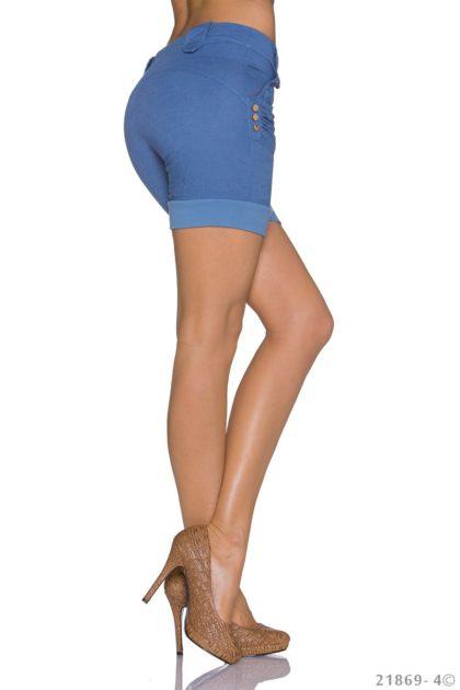 Pantaloni scurti albastru indigo lateral