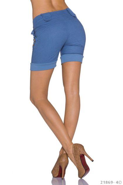 Pantaloni scurti albastru indigo spate