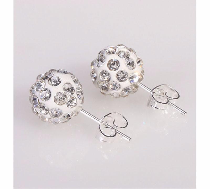 Cercei bilute argint Shamballa albi