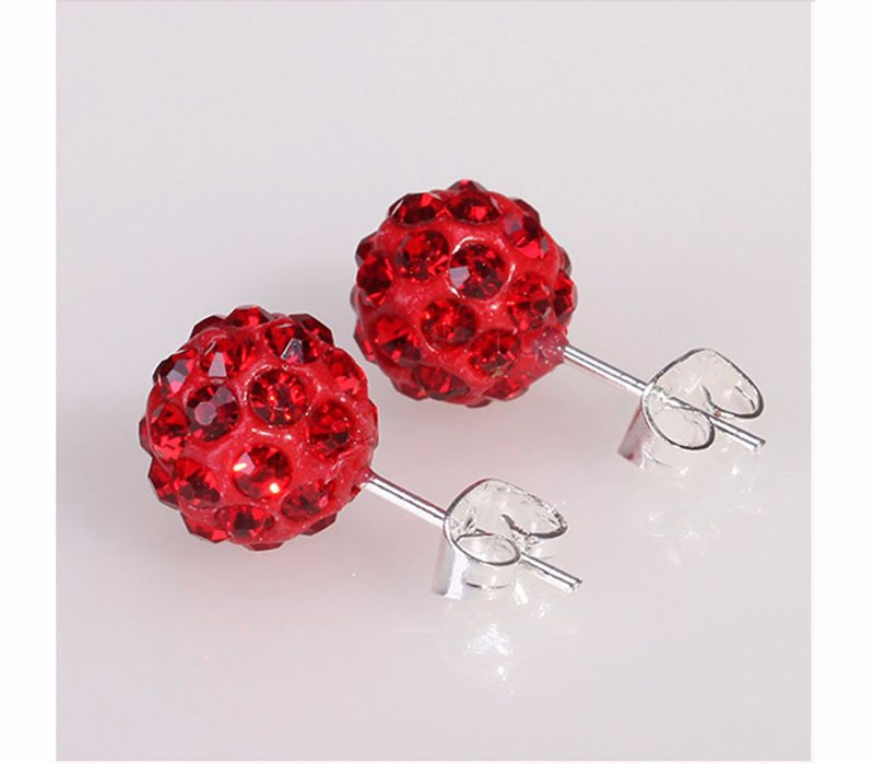 Cercei bilute argint Shamballa rosii