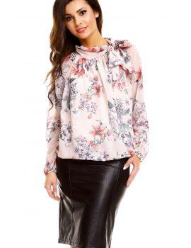 Bluza eleganta crem imprimeu floral