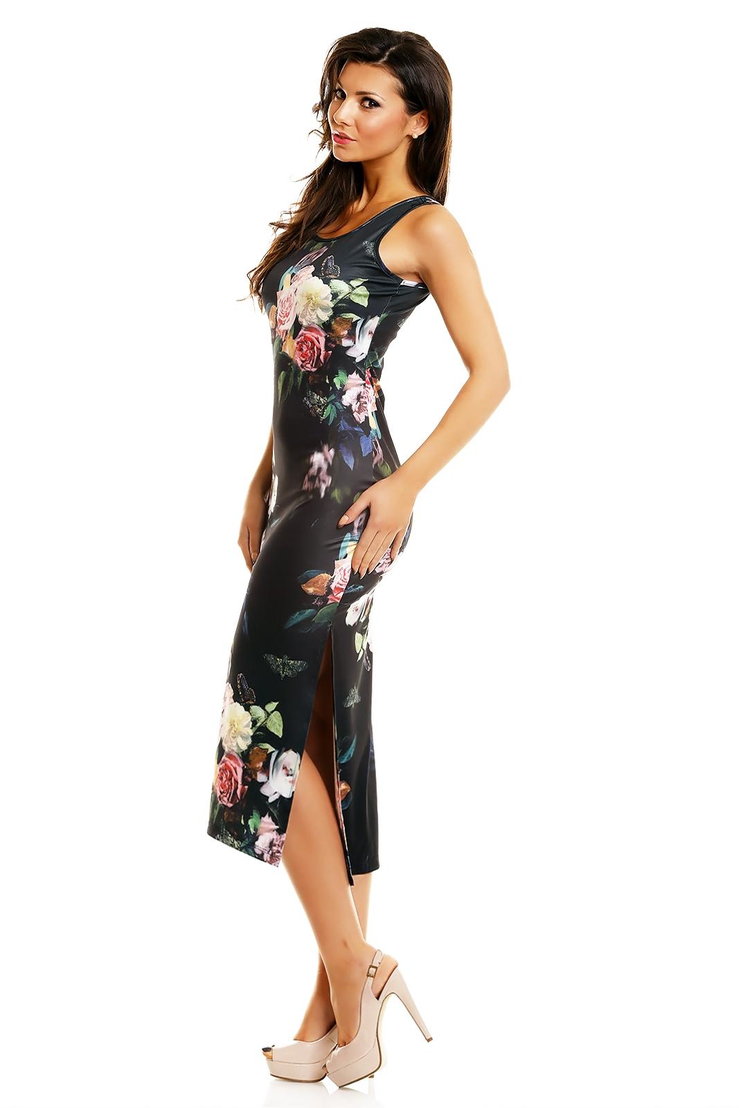 Rochie lunga neagra cu imprimeu trandafiri lateral