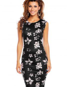 Rochie neagra cu imprimeu flori BEAUTY FASHION