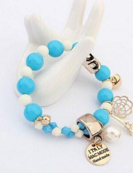 Bratara handmade cu margele albe si albastre