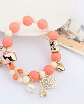 Bratara handmade cu margele albe si portocalii