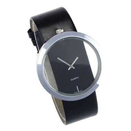 Ceas cu cadran transparent negru Malloom