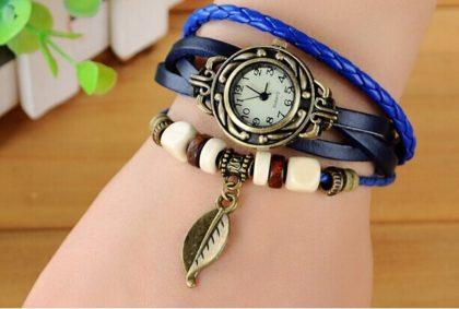 Ceas de mana din otel inoxidabil cu bratari de piele albastre si decoratiuni