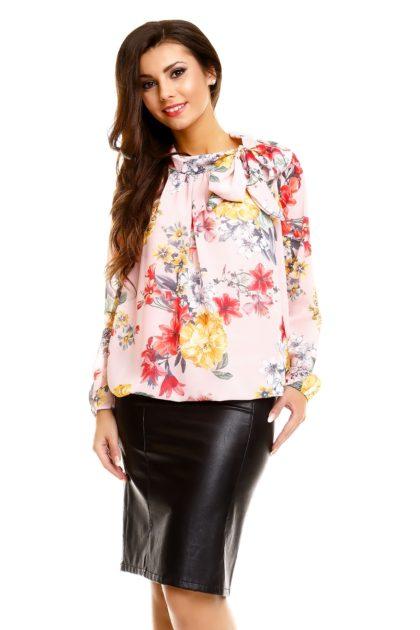 Bluza eleganta roz deschis imprimeu floral