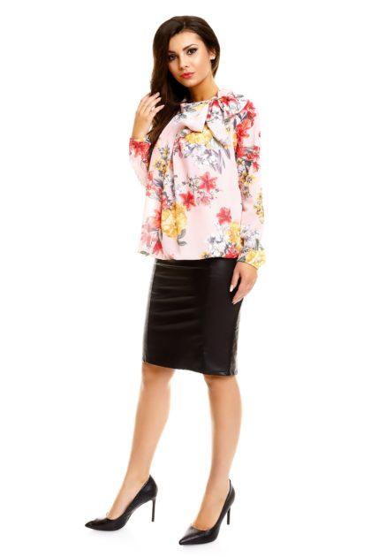 Bluza eleganta roz deschis imprimeu floral profil