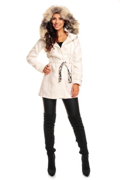 Palton alb Miko Moda