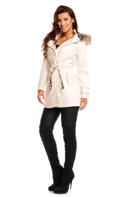 Palton alb Miko Moda profil