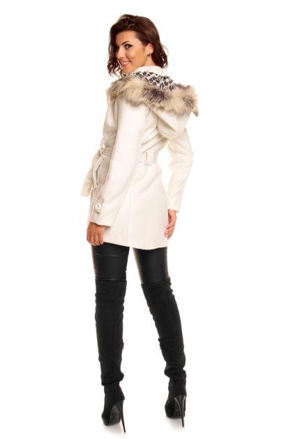 Palton alb Miko Moda spate