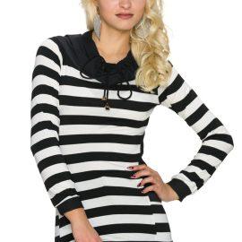 Pulover in dungi alb-negru Italy Moda