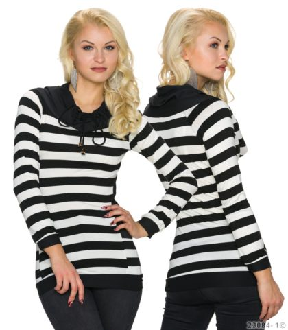 Pulover in dungi alb-negru Italy Moda fata spate