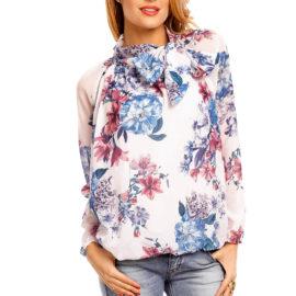 Bluza eleganta alba imprimeu floral