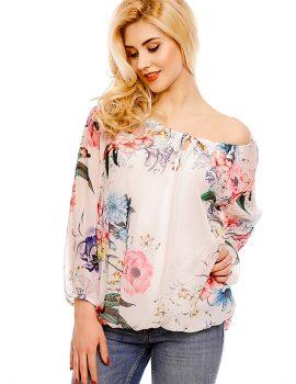 bluza alba imprimeu floral vf
