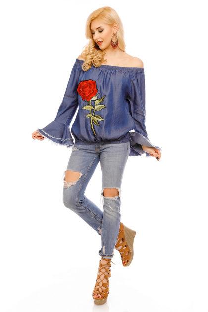 Bluza albastra imprimeu trandafir Mayaadi fata