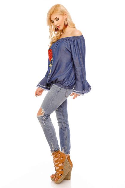 Bluza albastra imprimeu trandafir Mayaadi lateral