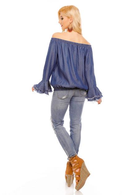 Bluza albastra imprimeu trandafir Mayaadi spate