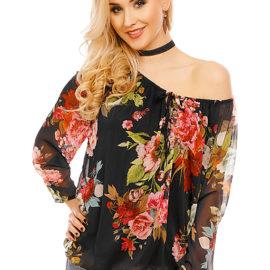 Bluza neagra-rosie imprimeu floral V&F