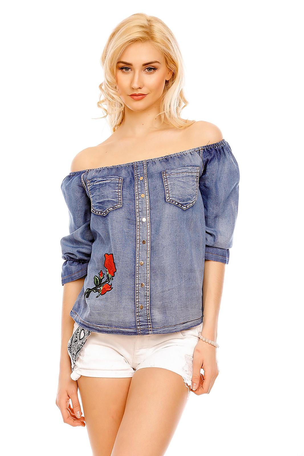 Bluza albastra imprimeu trandafir Fee Red