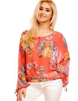 bluza tip fluture somon imprimeu floral