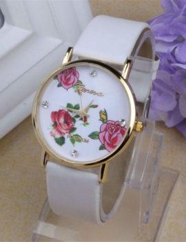 Ceas Geneva alb cu imprimeu floral