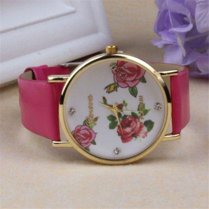 Ceas Geneva roz cu imprimeu floral profil