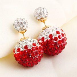Cercei dubli bilute cristale rosi