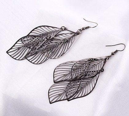 Cercei lungi model frunza argint sus
