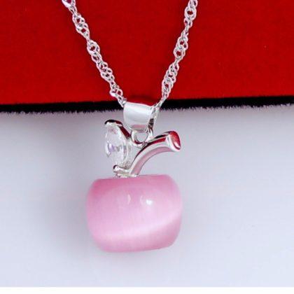 Colier argint cu pandantiv din opal roz fata