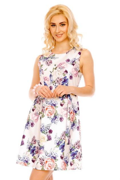 Rochie alba cu imprimeu floral Fee Red