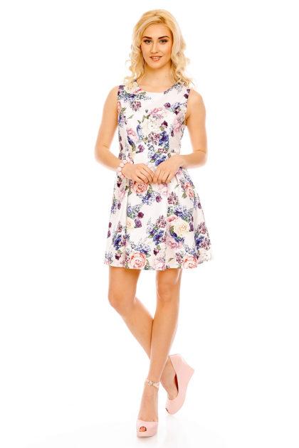 Rochie alba cu imprimeu floral Fee Red fata