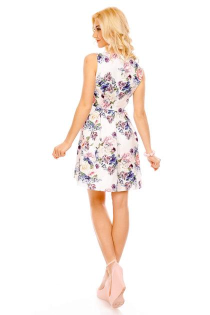 Rochie alba cu imprimeu floral Fee Red spate