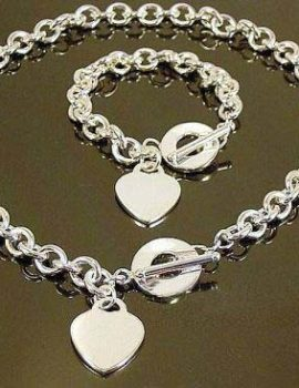 Set argint inimioare colier si bratara