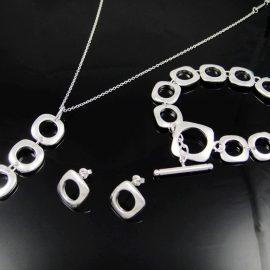 Set placat argint colier pandativ bratara si cercei