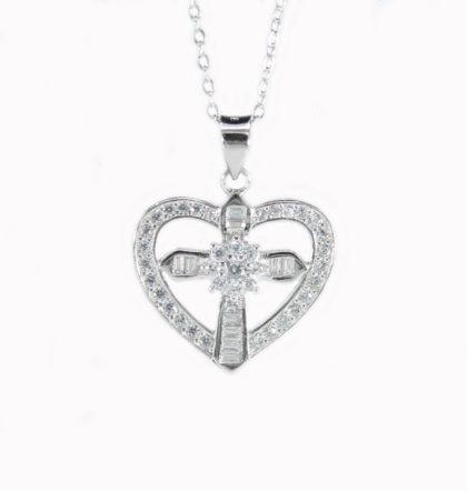 Colier argint 925 inima si cruciulita