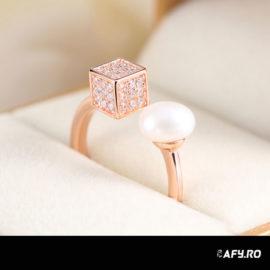 Inel ajustabil argint 925 perla placat aur