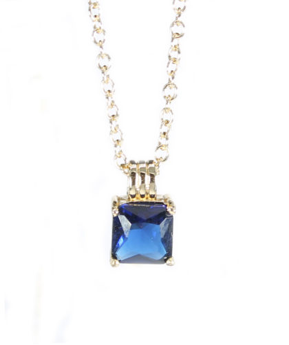 Lantisor placat aur cristal albastru