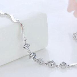Bratara argint 925, cu cristale zirconiu placat platina