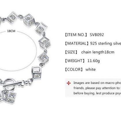 Bratara Argint 925, Cuburi Cu Cristale Zirconiu dimensiuni