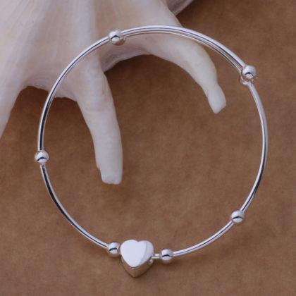 Bratara argint ajustabila cu inimioara Sara profil