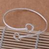 Bratara argint sferica ajustabila Double heart