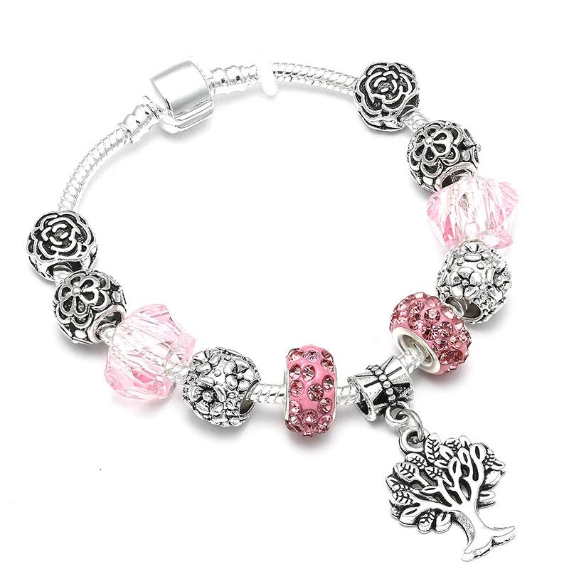 Bratara charm copacul vietii cristale roz