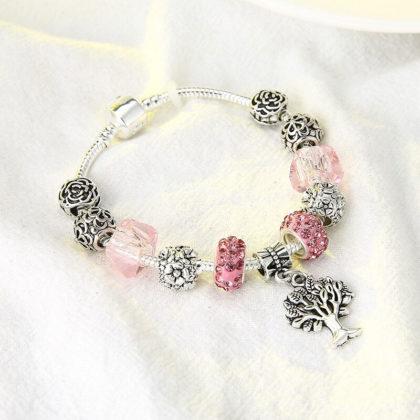 Bratara charm copacul vietii cristale roz sus