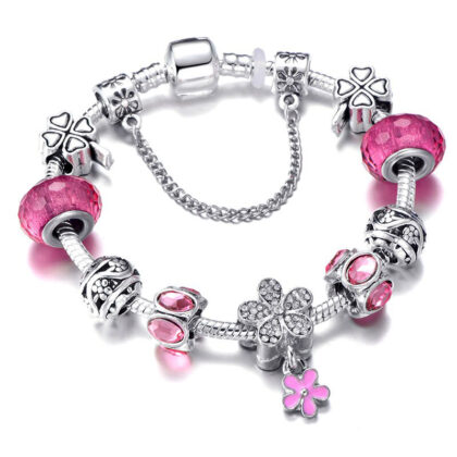Bratara charm floricica cristale roz