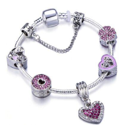 Bratara charm floricica-inimioare cristale roz