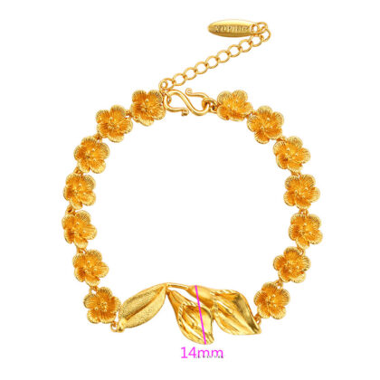 Bratara eleganta floricele placata aur dimensiuni